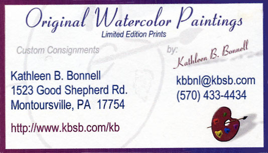 [Original Watercolor Paintings KB Bonnell Business Card]